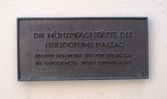 Memorial plaque in Limburg for the mint of the Duchy of Nassau