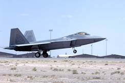 An F-22 landing at Holloman AFB, New Mexico