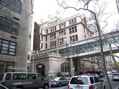 Hunter College, one of three meeting places for Redeemer Presbyterian Church (New York City), led by Tim Keller, with more than 5,000 weekly attenders and in excess of $30 million in annual giving[94]