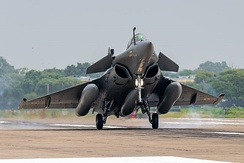 A Rafale landing at Ambala Air Force Station on its first arrival in India on 29 July 2020.