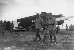 Italian generals Ugo Cavallero and Ettore Bastico discussing the war at an Italian air base in Libya 1942