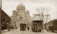Kaunas during the early years of the interwar period with horse-drawn trams