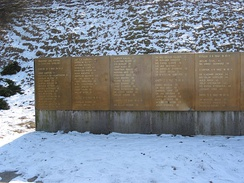 Close-up of memorial plaques with names of the victims.