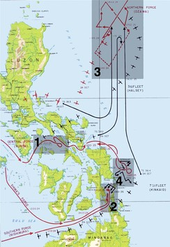 The four engagements in the Battle of Leyte Gulf