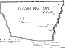 Map of Washington Parish, Louisiana With Municipal Labels