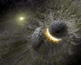 An artist's conception of two Pluto-sized dwarf planets in a collision around Vega