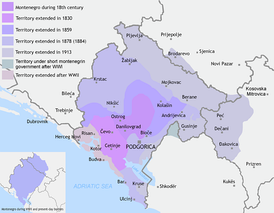 Montenegro territory expanded (1830–1944)