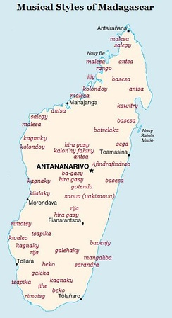 Distribution of Malagasy musical forms
