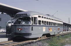 Newark City Subway PCC streetcar in 1965. The last of these cars were retired in 2001 for Newark.
