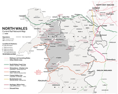 Map of the rail network in North Wales