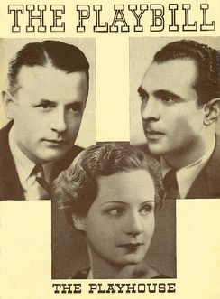 Playbill cover 1935 original Broadway production Three Men on a Horse at The Playhouse Theater starring Teddy Hart, Shirley Booth and Sam Levene