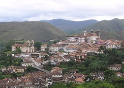 View of Ouro Preto, one of the main Portuguese settlements founded during the gold rush of Minas Gerais. The town has preserved its colonial appearance to this day.