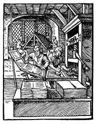 The printing press. Gutenberg's invention had a great impact on social and political developments.