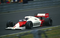 Alain Prost driving the McLaren MP4/2B at the 1985 German Grand Prix