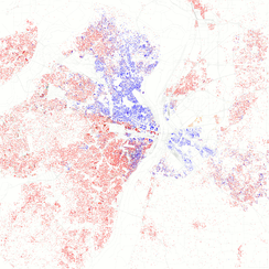 Map of racial distribution in St. Louis, 2010 U.S. Census. Each dot is 25 people: White, Black, Asian, Hispanic or Other (yellow)