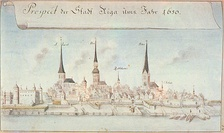 Riga in 1650. Drawing by Johann Christoph Brotze