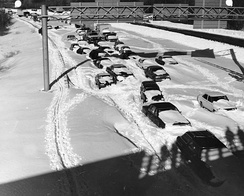 Cars stuck in snow on Route 128 near Needham, Massachusetts during the Blizzard of '78.