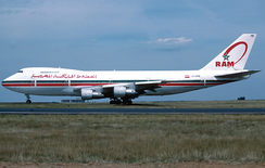A Royal Air Maroc Boeing 747-200B at Charles de Gaulle Airport in 1996.