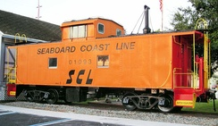 Former Seaboard Coast Line Railroad class M-6 caboose on display at the Mulberry Phosphate Museum in Mulberry, Florida