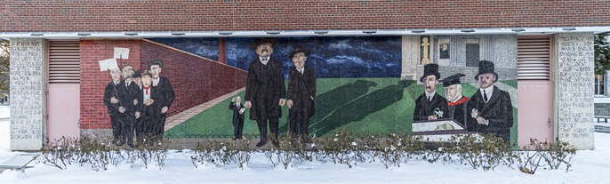 "Mosaic ""The Passion of Sacco and Vanzetti"" by Ben Shahn at Syracuse University (1967)"