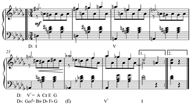 Modulation from D major to D♭ major in Schubert's Op. 9, No. 14, D. 365, mm. 17–24, using the German sixth, in the new key, that is enharmonic to the dominant seventh in the old key.[8] Play (help·info)