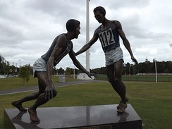 Mitch Mitchell's sculpture depicting Clarke and Landy