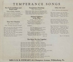 This is the songbook used at the Women's Temperance Organization from Wilkinsburg, Pennsylvania