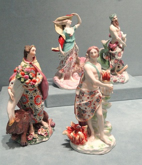 Rococo set of personification figurines of the Four Elements, 1760s, Chelsea porcelain, Indianapolis Museum of Art