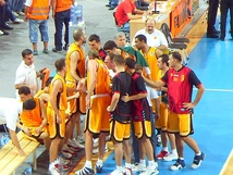 Macedonia basketball team at a time out during a match with Latvia