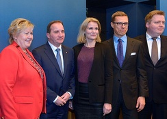 Nordic prime ministers at the Nordic Council meeting in 2014 in Stockholm