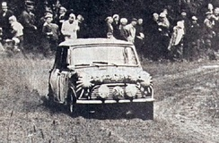 Timo Mäkinen and Mini Cooper S on their way to the first of a hat-trick of wins in the 1000 Lakes Rally in Finland