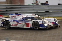 The Toyota TS040 Hybrid that Buemi drove at the 2014 24 Hours of Le Mans.