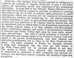 "Article 62 of the Treaty of Berlin (1878): ""The rights conceded to France are expressly reserved, it being well understood that the status quo with respect to the Holy Places shall not be seriously affected in any way."""