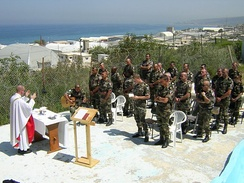 French soldiers of the UNIFIL attending a Catholic Mass in Lebanon