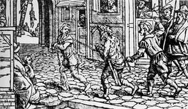 A woodcut from circa 1536 depicting a vagrant being punished in the streets in Tudor England.