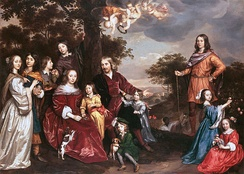 "Jan Mijtens, family portrait, 1652, with the boys in ""picturesque"" dress."