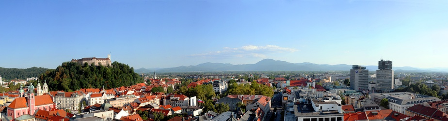 View of Ljubljana from Nebotičnik; Ljubljana Castle is on the left.