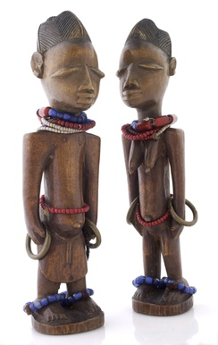 Wooden Ere Ibeji figures representing twins. Yorubas have the highest twinning rate in the world.