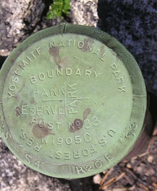 Figure 4. The cast and stamped cap on a corner monument pipe, in western Yosemite National Park, placed in 1905 during the Park boundary resurvey