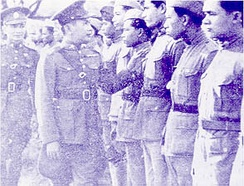 Plaek Phibunsongkhram inspecting troops during the war