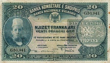 Albanian 20-franc note.