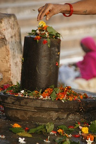 A woman spreading flowers over a lingam in a temple in Varanasi