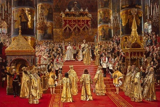 Grand painting by artist Georges Becker of the coronation of Emperor Alexander III and Empress Maria Fyodorovna, which took place on 27 May [O.S. 15 May] 1883 at the Uspensky Sobor of the Moscow Kremlin. On the left of the dais can be seen his young son and heir, the Tsarevich Nicholas, and behind Nicholas can be seen a young Grand Duke George.