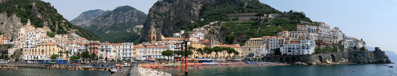 Panoramic view of the town of Amalfi, with the Amalfi Cathedral in the centre