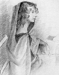 Portrait in pencil of Anne by her sister Charlotte.