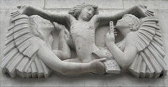 Ariel between Wisdom and Gaiety by Eric Gill