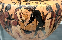 Wrestling match between Peleus and Atalanta during the funeral games for King Pelias, hydria by the Inscription Painter, c. 550 BC, now in the Munich State Collections of Antiquities