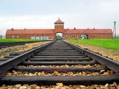 Auschwitz II gatehouse, shot from inside the camp; the trains delivered victims very close to the gas chambers.