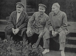 Avel Enukidze, Joseph Stalin and Maxim Gorky celebrate the 10th anniversary of Sportintern. Red Square, Moscow USSR. August 1931