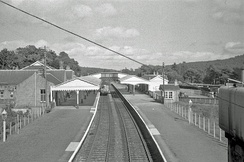 Banchory railway station on the Deeside Railway, Scotland, in 1961. The station closed in 1966.